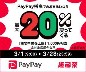 超PayPay祭 最大1,000円相当 20%戻ってくるキャンペーン!【3/28(日)まで!(※)】